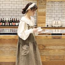 木茶出品日系连衣裙文艺复古棉麻宽松背心裙长款女背带裙春2020款