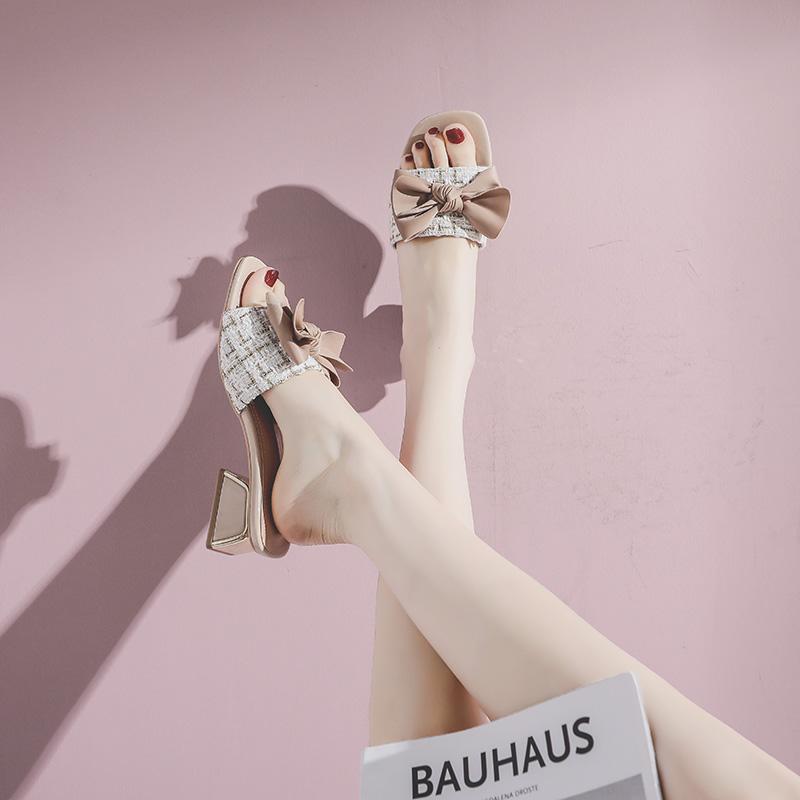 网红凉拖鞋女夏2020新款外穿时尚鞋拖蝴蝶结高跟中跟夏季爆款潮鞋