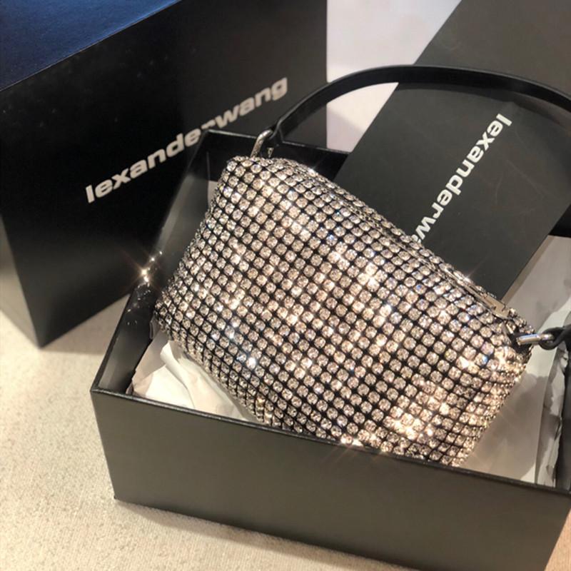 aw大王水钻包包2021新款潮时尚腋下包满钻钻石包真皮手提斜挎女包