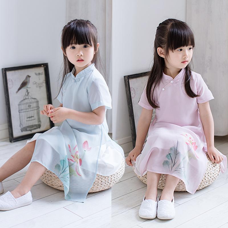 女童汉服2019夏女童宝宝复古雪纺儿童旗袍民族风连衣裙唐装亲子装