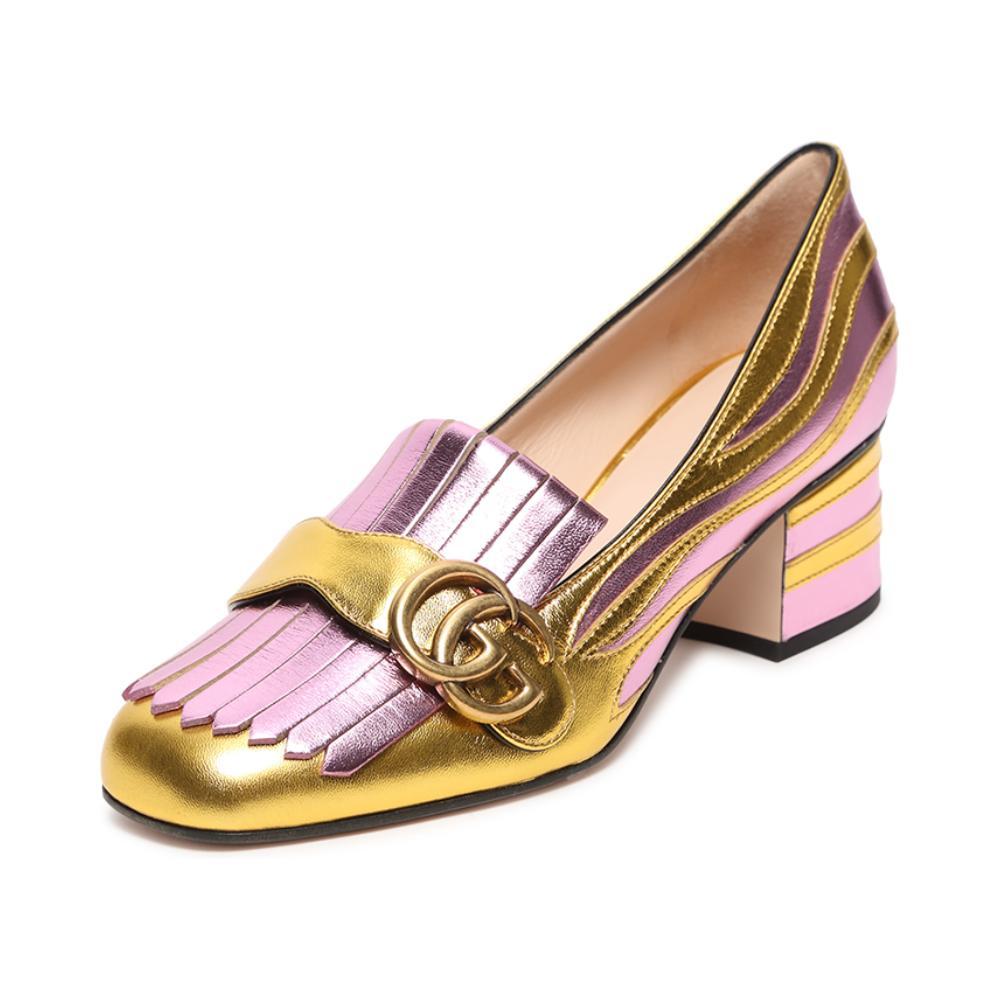 Gucci/古奇 紫色拼金色牛皮革LOGO拼接女士中跟皮鞋