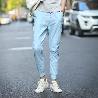 街拍新款男士哈伦束脚裤韩版修身九分裤棉麻潮 A111A-XK916-P25