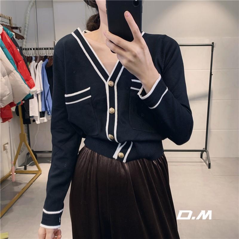 小香风薄款v领单排扣拼色针织衫12月03日最新优惠