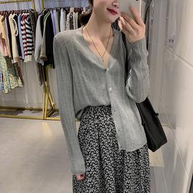 六羊毛纯色开衫V领薄款外套长袖冰丝针织衫外搭短款上衣糖果色