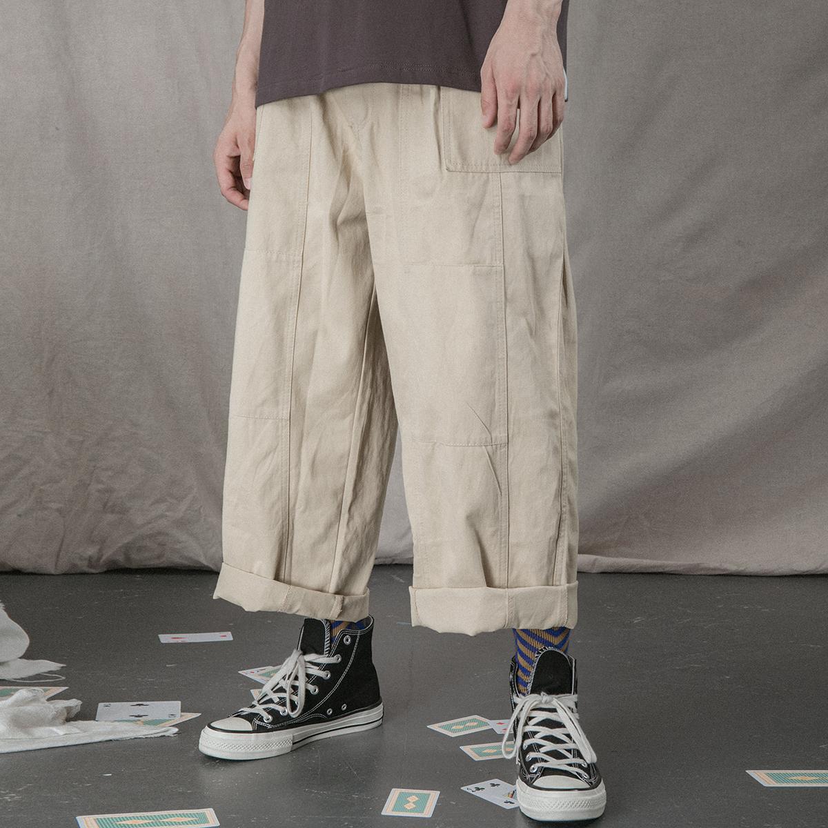 11月19日最新优惠日系工装风街头潮人男女款纯色百搭阔腿工装裤宽松慵懒BF喇叭长裤