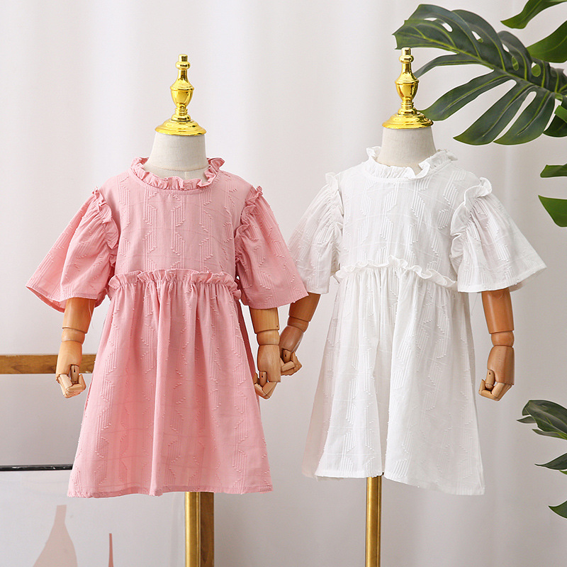 2021 summer Korean childrens wear girls solid color dress short sleeve breathable middle and small childrens cotton princess skirt
