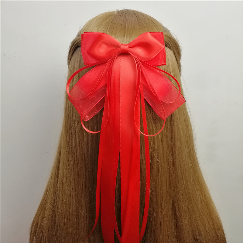 Recommend new red bow ribbon hairpin, super long ribbon headdress, ancient Chinese costume, tassel fish mouth clip