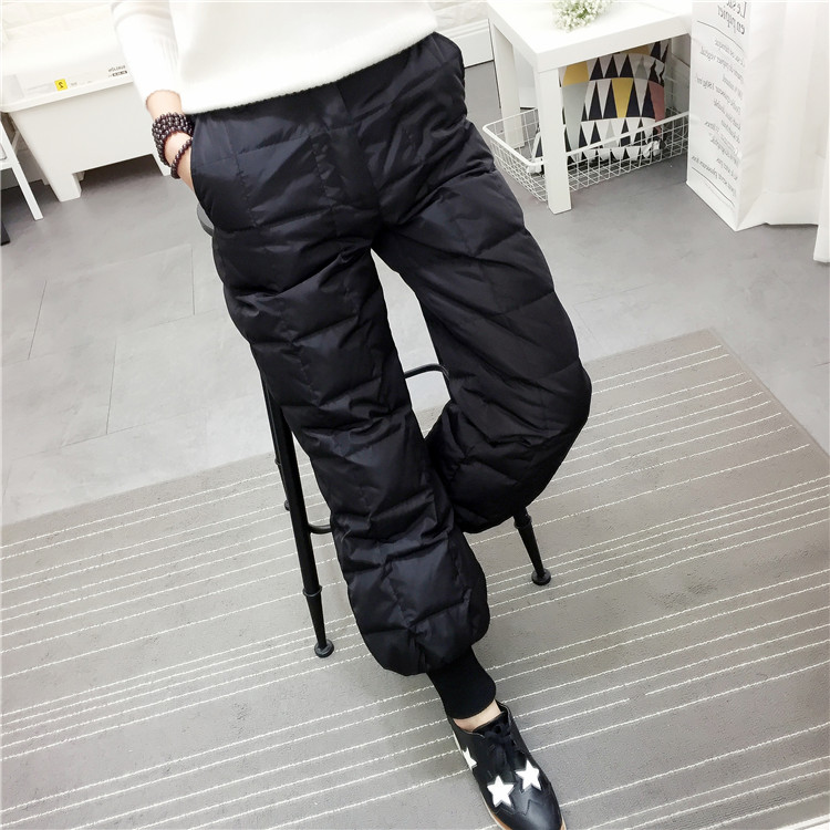European station winter new British double faced down trousers women wear thin high waist thickened lantern pants cotton pants pants