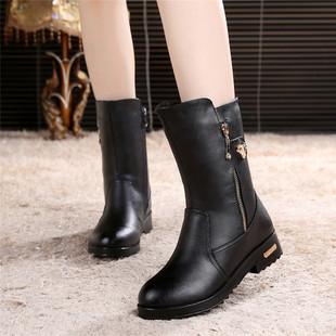 2021季新款女鞋短靴加绒棉靴平底马靴女中筒靴平跟中靴大码女靴