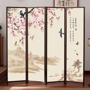 中式屏风隔断墙客厅简易折屏卧室遮挡折叠移动轻奢平风帘挡煞家用