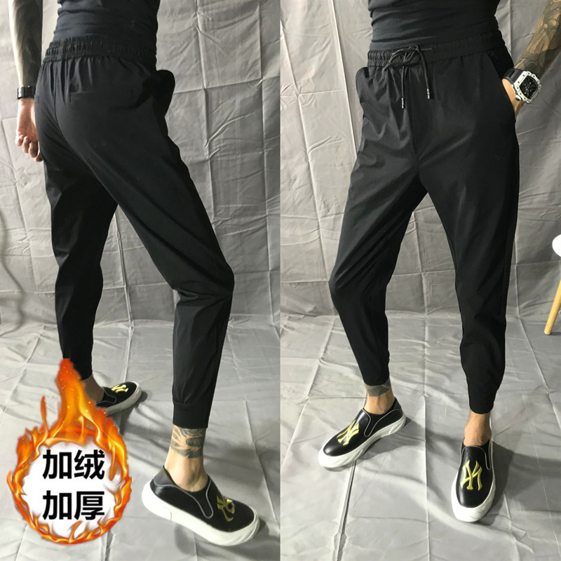 Autumn winter Plush black Capris mens slim Leggings Korean version of versatile social spirit boys legged casual pants