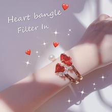 有滤镜日系少女甜美moca原宿风爱心红宝石珍珠手镯2只包邮!