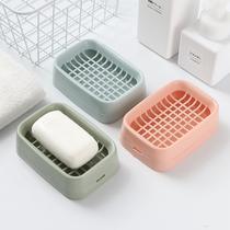 壁挂式免打孔肥皂盒创意双层沥水香皂盒卫生间家用带盖肥皂架