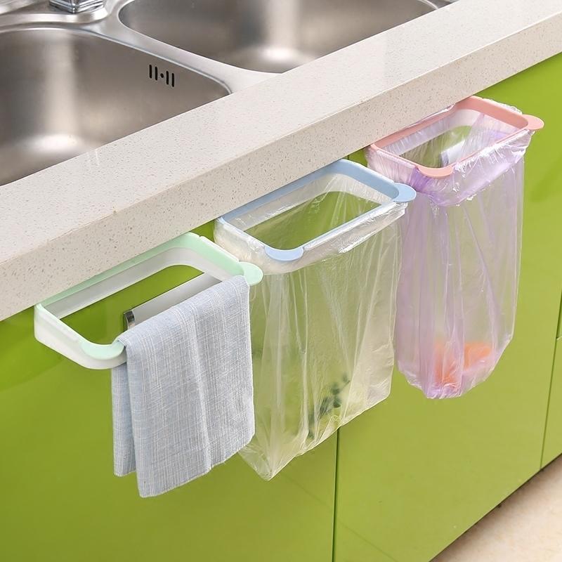 Подвесные кухонные шкафы для мусора дверь Держатель для мусорной корзины Висячая пластиковая сумка для мусора