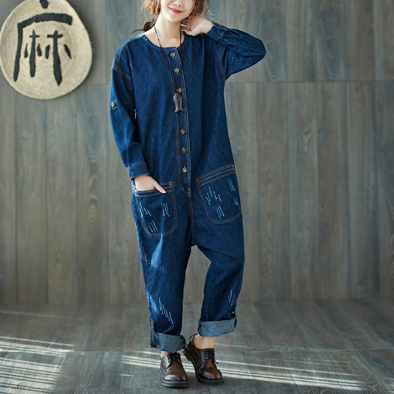 One shirt with water new cotton and hemp literature and art one piece overalls trendy loose womens large denim Romper blue