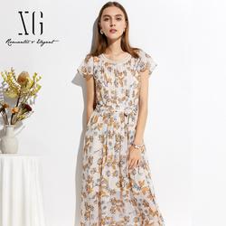 xg2019夏新款女装韩版收腰显瘦中长款印花雪纺连衣裙套头短袖裙子