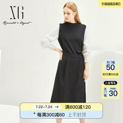 XG创意假两件高腰OL风连衣裙女装2021秋季新款半高领拼接长袖长裙