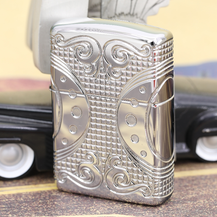 Original Zippo windproof lighter chrome plated mirror armor surrounded by carved geometric space 49037