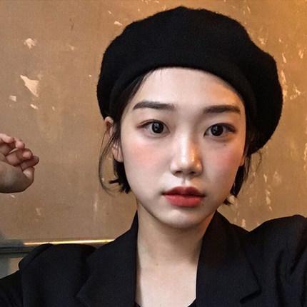 【澳洲羊毛】ins黑色网红贝雷帽女秋冬英伦lolita画家帽蓓蕾帽子