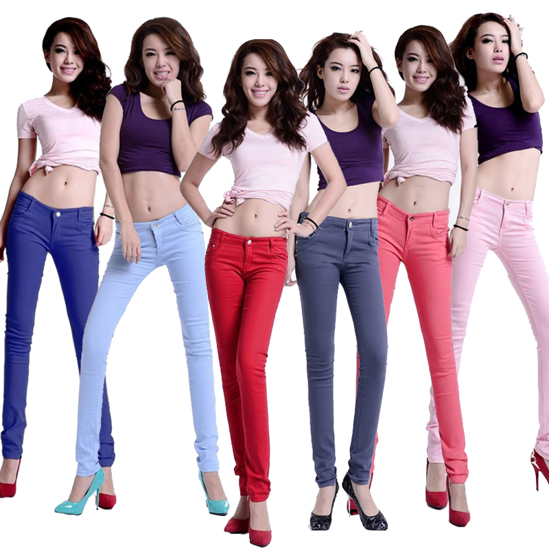 Leggings womens spring and autumn low waist color candy color versatile jeans tight Korean pencil elastic thin pants