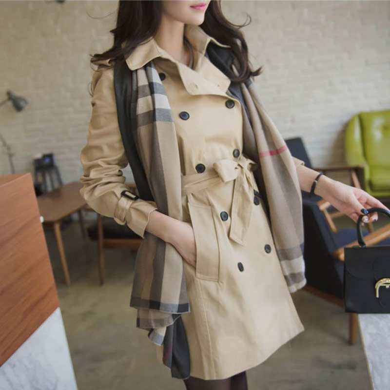 Windbreaker womens middle and long 2021 spring and autumn clothes new Korean leisure British style double breasted small slim coat