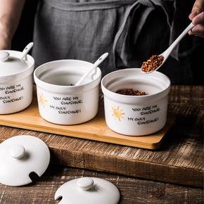 放调料罐子油盐罐陶瓷带盖厨房家用创意组合套装三件套日式调味罐
