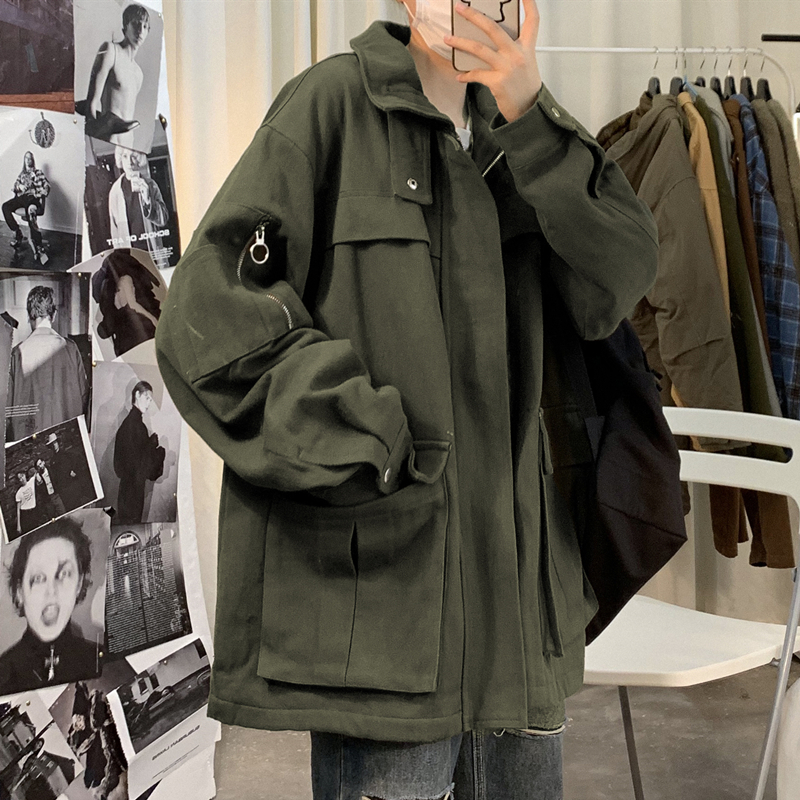 Tooling jacket male Korean version of the trendy brand spring and autumn loose student function ruffian handsome ins wild Hong Kong style jacket