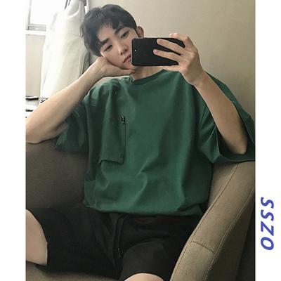 sszo 男士纯色短袖T恤夏季情侣装港风青少年五分袖学生半截袖衣服