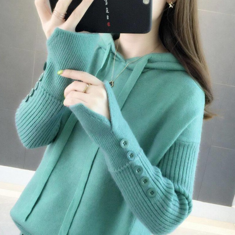 Hoodie womens new fall 2019 Korean version loose fit Pullover knitwear wearing lazy sweater womens coat