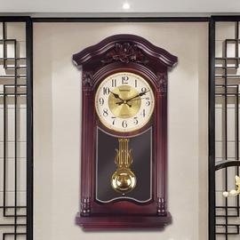 新中式挂钟仿木复古摆钟玄关钟表整点报时静音时钟家用中国风挂钟