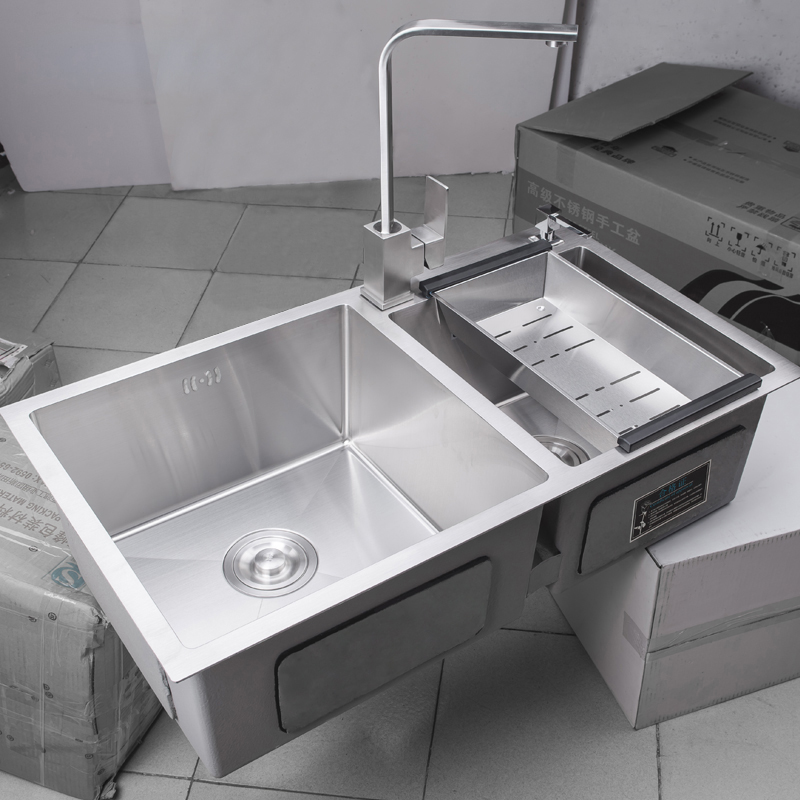 Jinbei manual sink, double sink, 304 stainless steel wash basin, 2 water nests, kitchen sink, dishwasher with faucet