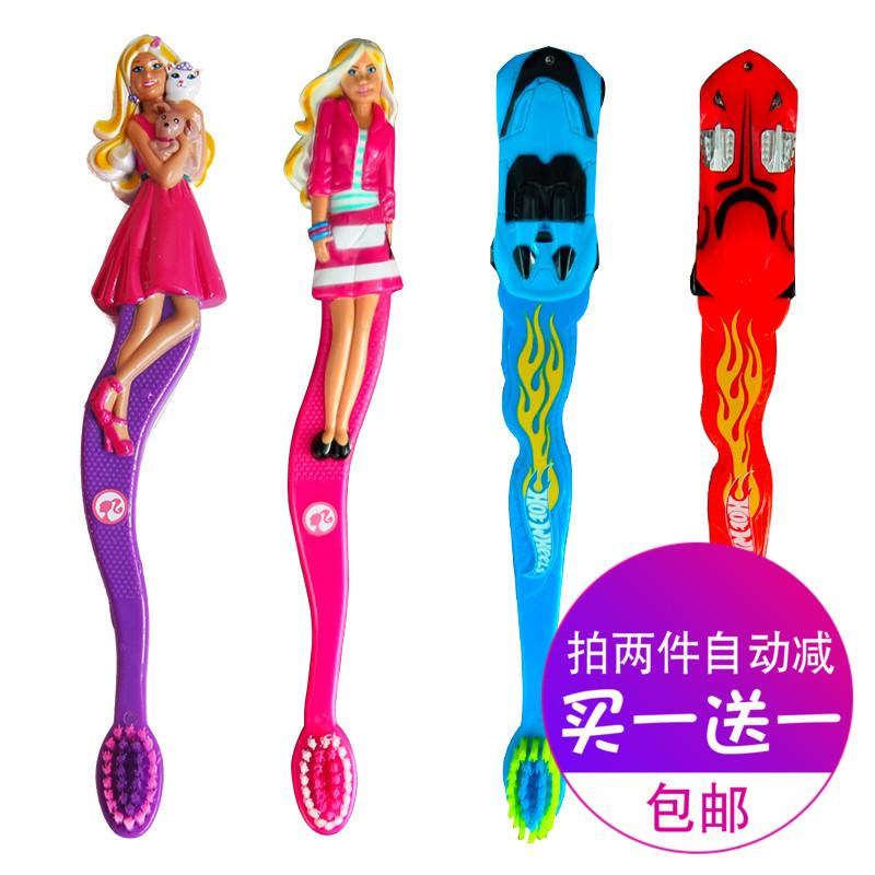 儿童牙刷立体手柄女孩男孩玩具卡通粉色芭比麦昆汽车总动员小礼物