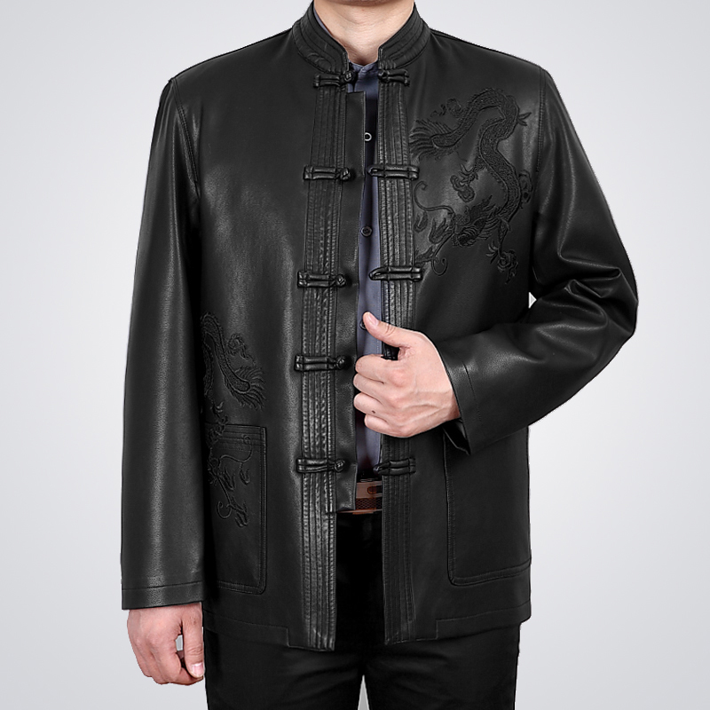 中老年人皮衣服男土春秋款纯皮外套中式唐装上衣褂子男式真皮夹克