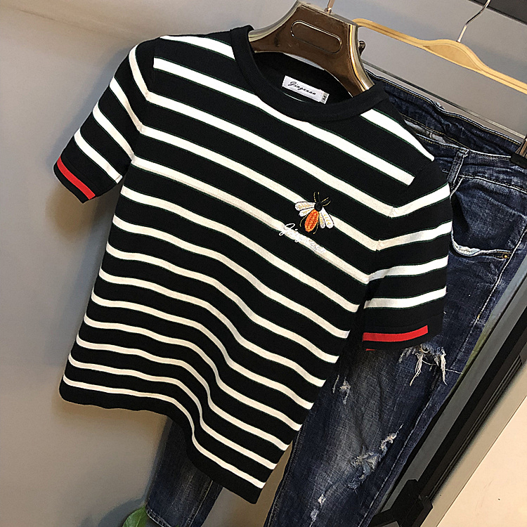 Korean autumn and winter new sweater mens short sleeve thick stripe round neck slim knit youth embroidery bottoming fashion