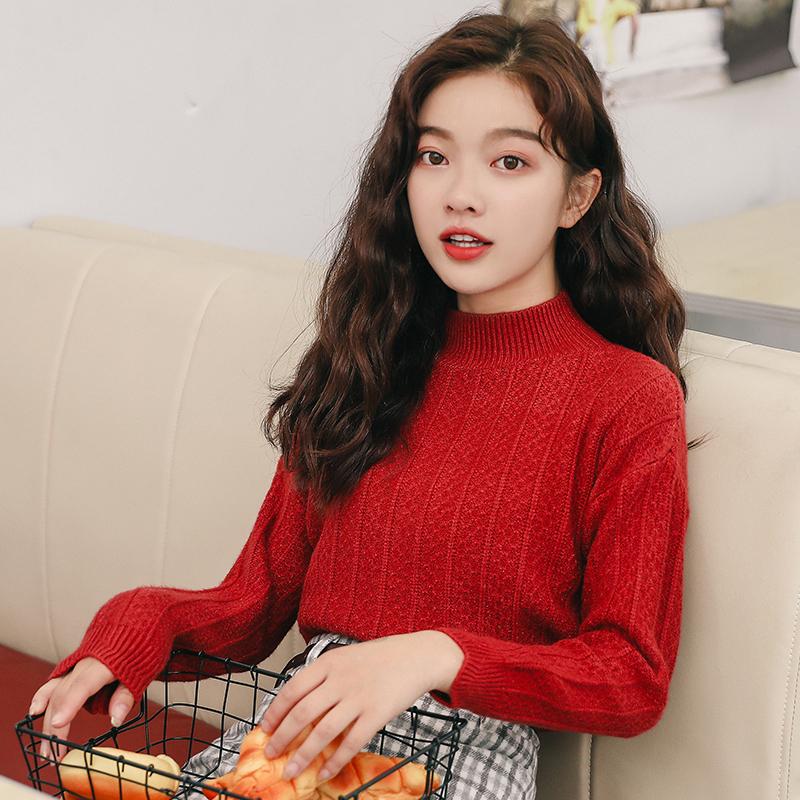 实拍打底毛衣女宽松2018秋季新款韩版学生百搭套头长袖针织衫