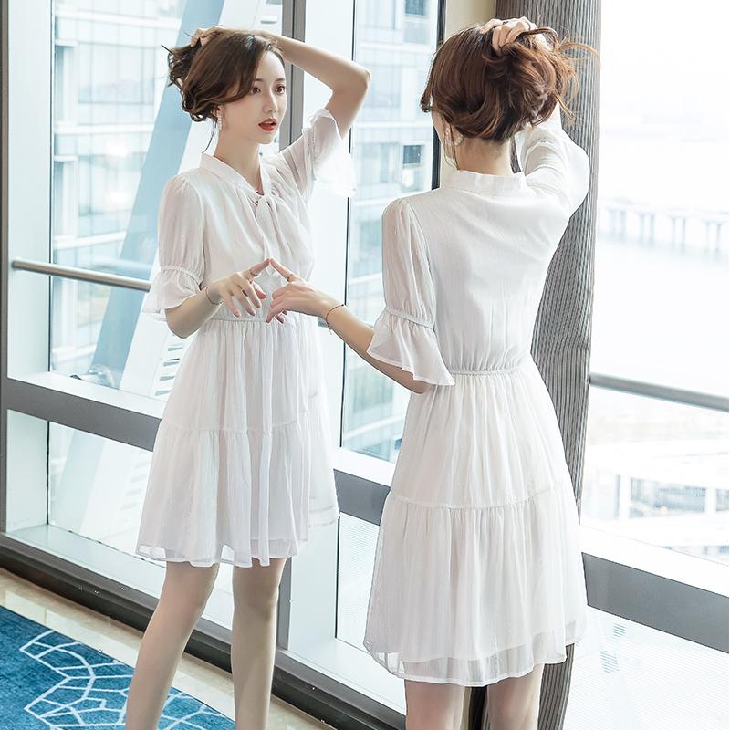 High waist dress one-piece 2021 summer V-neck fashion womens magic dress temperament tie tie tie tie womens short sleeve