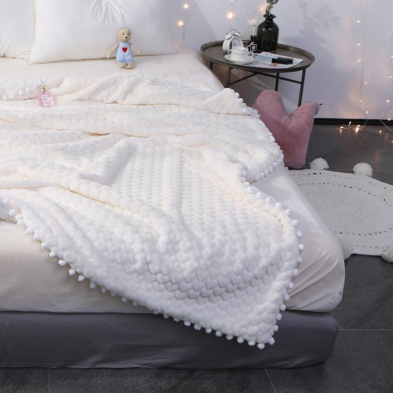 仔普女神系仿兔兔绒毛毯双层加厚羊羔绒毯子珊瑚绒午休小毯子