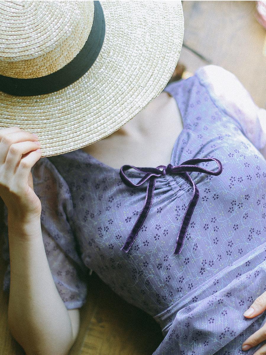 独立日自制紫色气质碎花镂空裙子