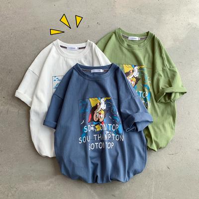 2019夏装趣味卡通漫画印花男士圆领休闲短袖T恤 T231/P38 控价55