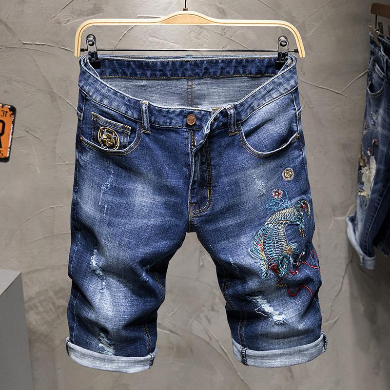 限20000张券夏季鱼刺绣欧美牛仔男朋克个性短裤