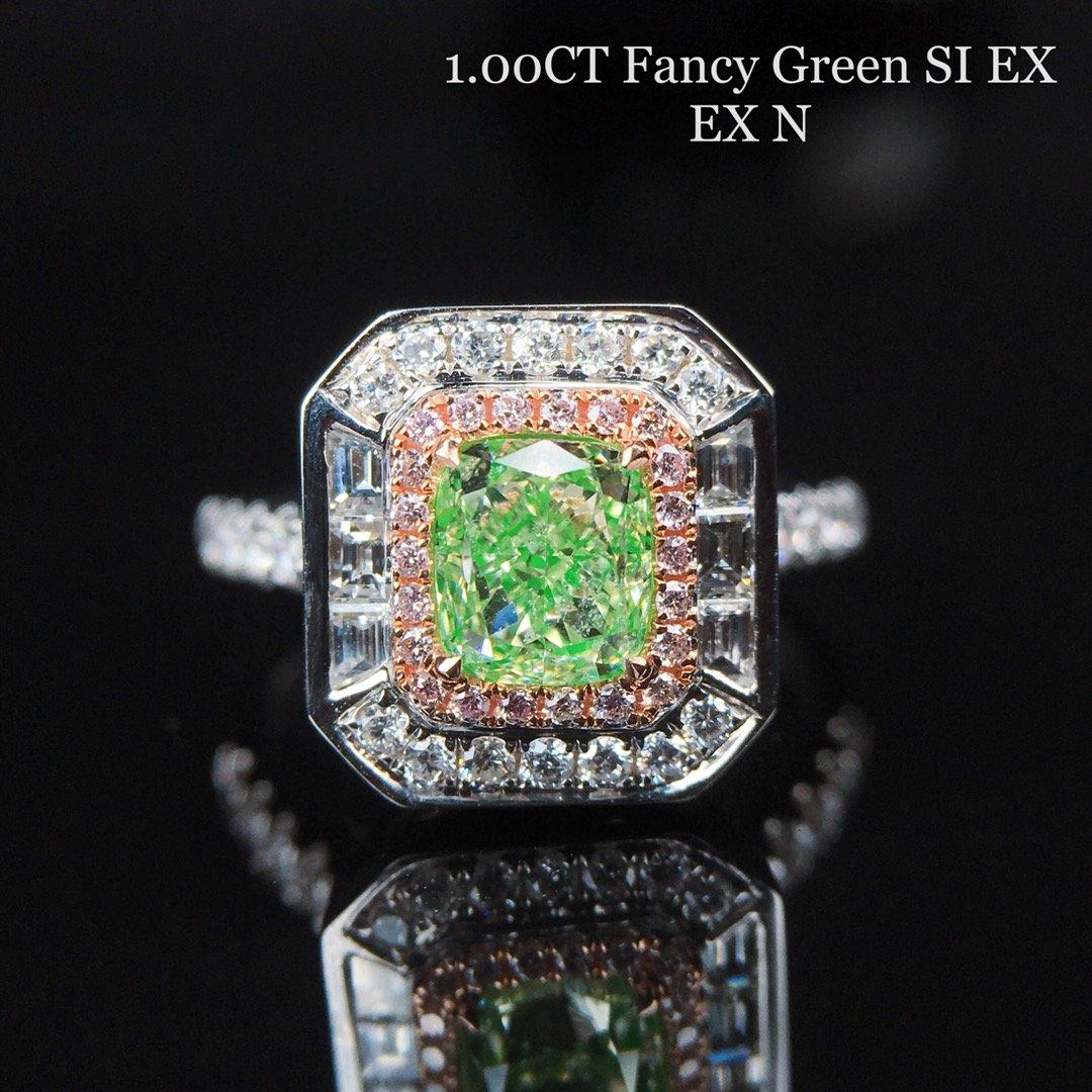 绿钻戒指吊坠两用款 1.0ct垫形绿钻钻戒吊坠 18K镶60.5分钻石
