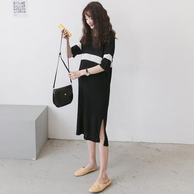 孕妇装夏天连衣裙2020新款夏装气质时尚显瘦潮辣妈中长款冰丝裙子