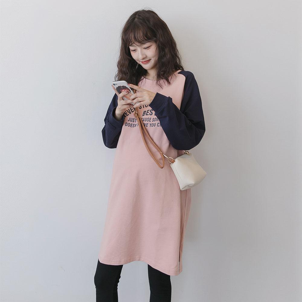 时尚孕妇装秋冬款上衣韩国撞色T恤中长款加绒孕妇卫衣春秋连衣裙