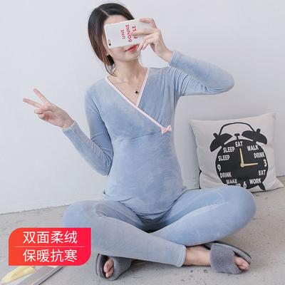 孕妇秋衣秋裤套装怀孕期春秋冬加绒月子服纯棉产后睡衣哺乳喂奶衣