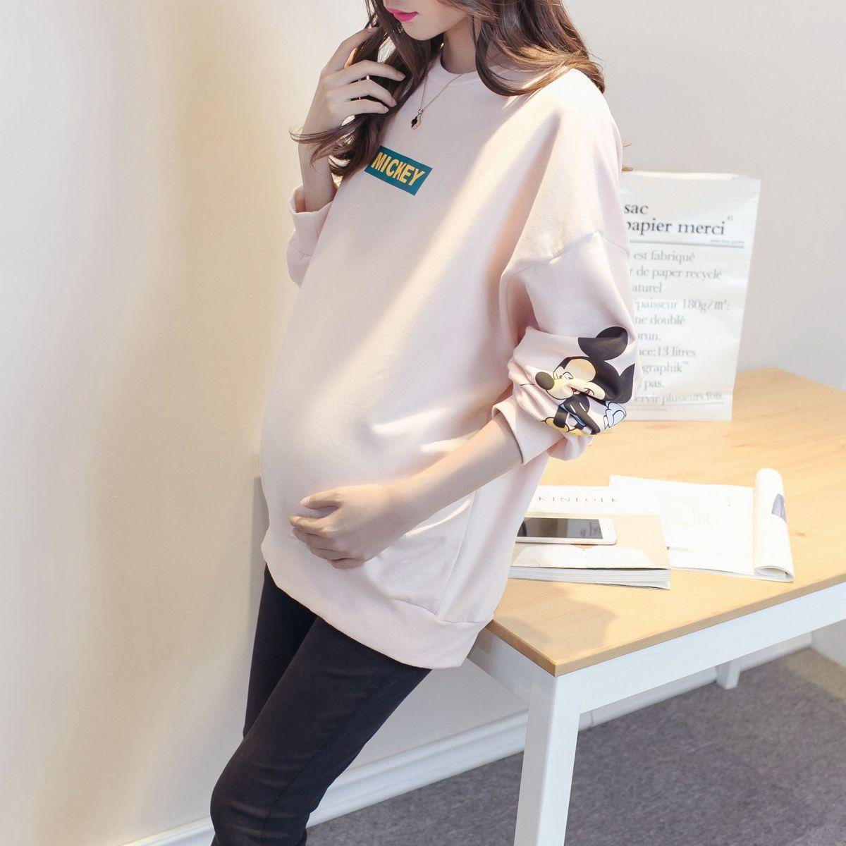 Корея большая мода метров в ширину свободный T футболки весенний и осенний сбор. беременная женщина куртка чистый хлопок, секретаря рукав свитер плюс бархат беременная женщина свитер
