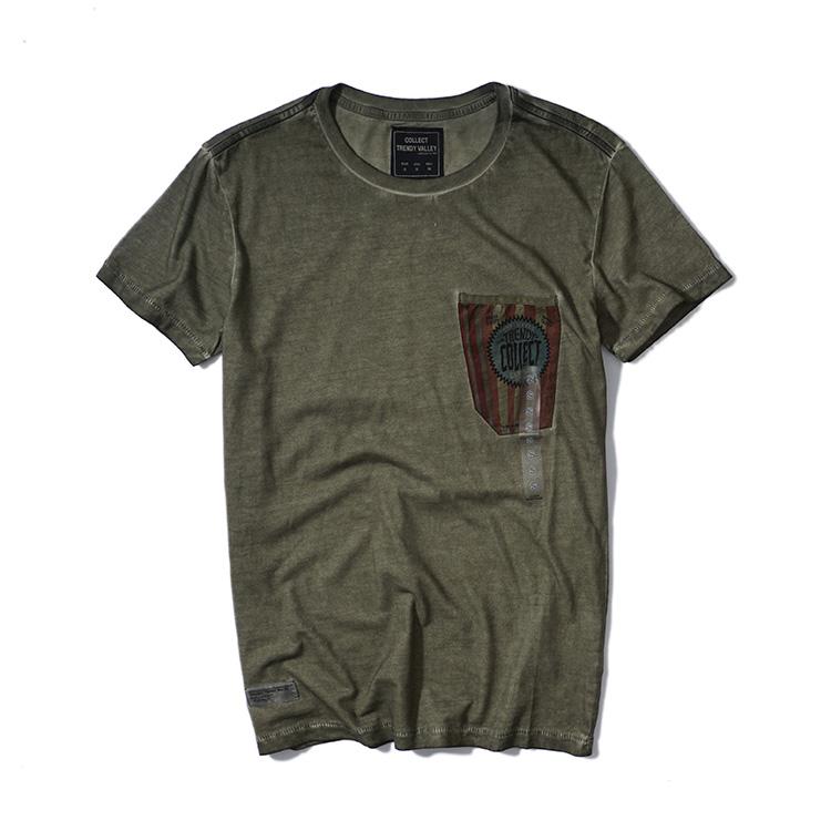 夏季新款欧美英伦男装复古做旧水洗印花全棉修身男士圆领短袖T恤