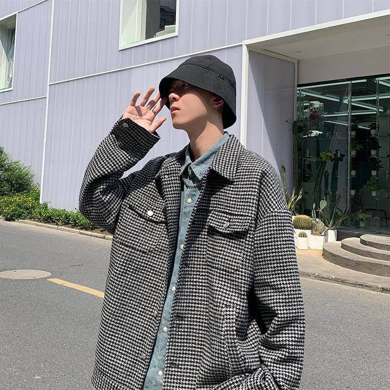 格子韩版潮流短款林弯弯宽松夹克