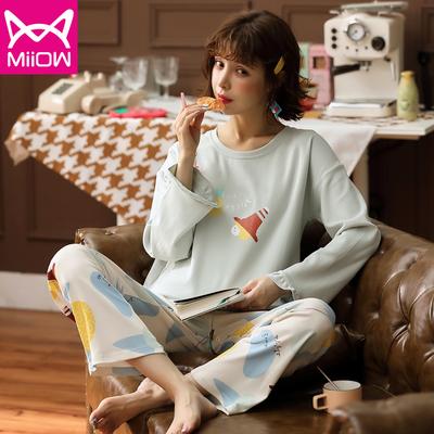 猫人睡衣女士春秋季纯棉夏长袖可爱韩版ins家居服套头学生两件套
