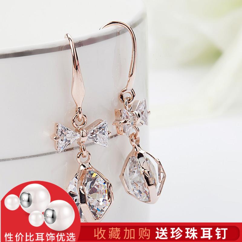 水晶耳環長款吊墜時尚珍珠耳墜簡約耳釘女氣質韓國個性防過敏百搭