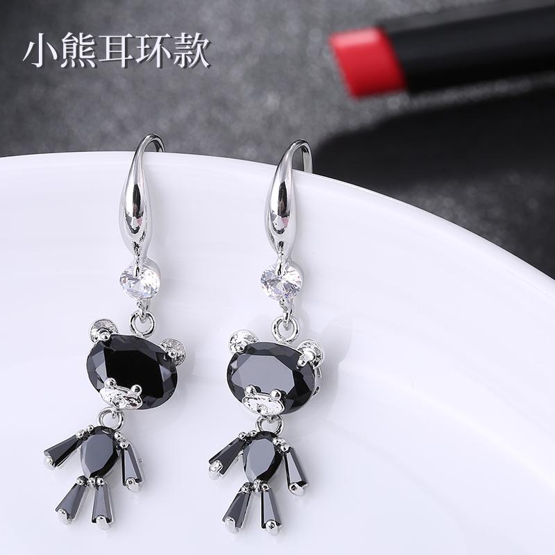 可爱小熊女长款气质韩国锆石耳环